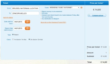 Weekend Ticket (dus-intors) Zaventem Airport - Bruxelles Midi