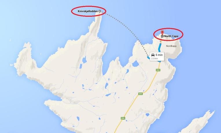 Cel mai nordic punct din insula Mageroya nu este Cap Nord, ci Knivskjellodden