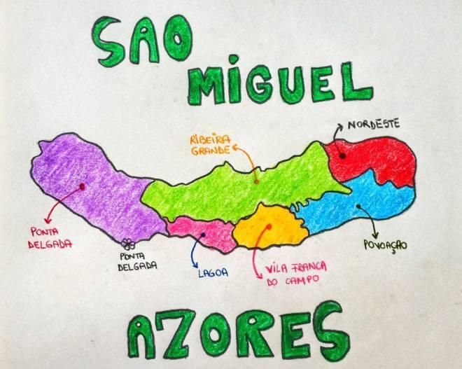 Azores Sao Miguel Island map