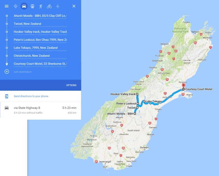 Day 8 - Map - Mount Cook - Hooker Valley