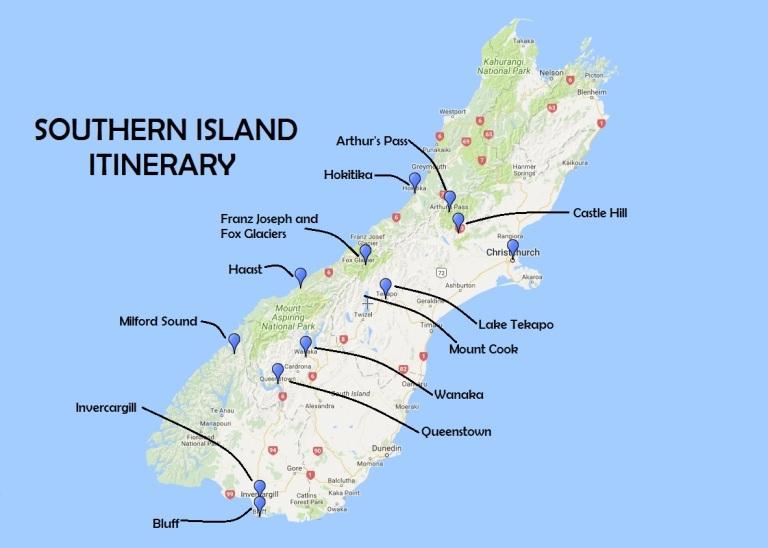 Southern Island Itinerary