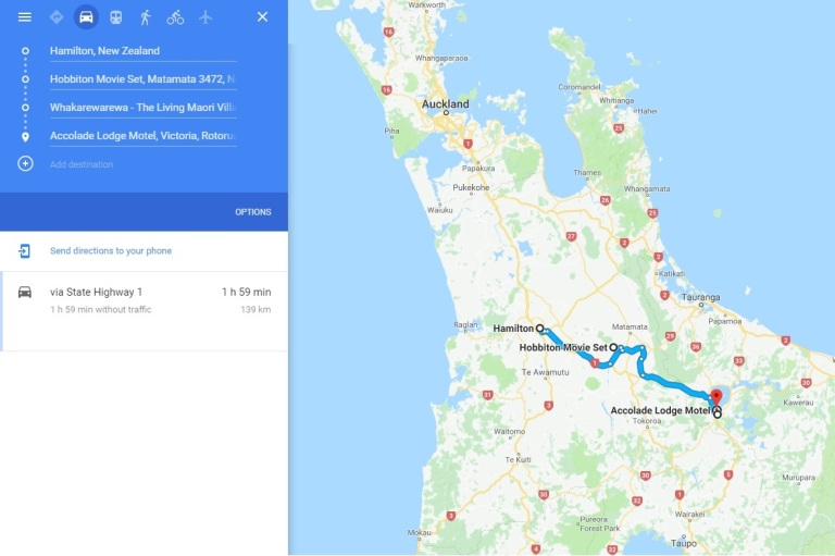 Day 11 - Map - Hobbiton & Maori Vilage