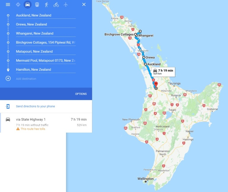 Day 9&10 - Map - Whangarei and Matapouri